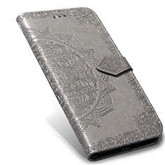 Custodia Portafoglio In Pelle Cover con Supporto L02 per Xiaomi Mi Note 10 Lite Grigio