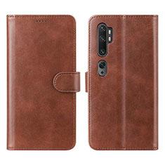 Custodia Portafoglio In Pelle Cover con Supporto L02 per Xiaomi Mi Note 10 Marrone