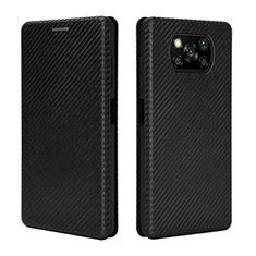 Custodia Portafoglio In Pelle Cover con Supporto L02 per Xiaomi Poco X3 NFC Nero