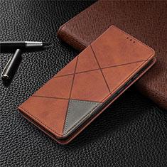 Custodia Portafoglio In Pelle Cover con Supporto L02 per Xiaomi Redmi 9 India Marrone