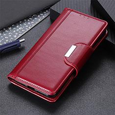 Custodia Portafoglio In Pelle Cover con Supporto L02 per Xiaomi Redmi 9A Rosso Rosa