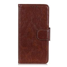 Custodia Portafoglio In Pelle Cover con Supporto L03 per Alcatel 3X Marrone
