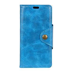 Custodia Portafoglio In Pelle Cover con Supporto L03 per Asus ZenFone Live L1 ZA550KL Blu