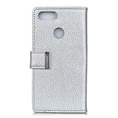 Custodia Portafoglio In Pelle Cover con Supporto L03 per Asus Zenfone Max Plus M1 ZB570TL Argento