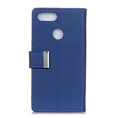 Custodia Portafoglio In Pelle Cover con Supporto L03 per Asus Zenfone Max Plus M1 ZB570TL Blu