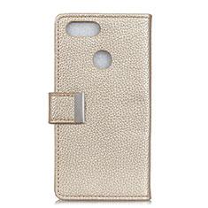 Custodia Portafoglio In Pelle Cover con Supporto L03 per Asus Zenfone Max Plus M1 ZB570TL Oro