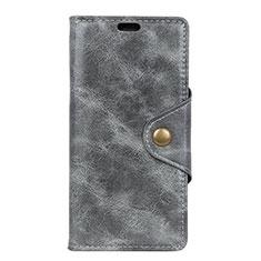 Custodia Portafoglio In Pelle Cover con Supporto L03 per HTC Desire 12S Grigio