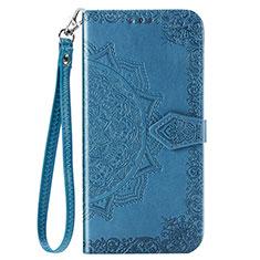 Custodia Portafoglio In Pelle Cover con Supporto L03 per Huawei Enjoy 10 Blu