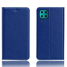 Custodia Portafoglio In Pelle Cover con Supporto L03 per Huawei P40 Lite Blu