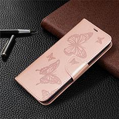 Custodia Portafoglio In Pelle Cover con Supporto L03 per Huawei Y7p Oro Rosa