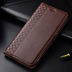 Custodia Portafoglio In Pelle Cover con Supporto L03 per LG G8 ThinQ Marrone