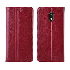Custodia Portafoglio In Pelle Cover con Supporto L03 per Nokia 1.3 Rosso
