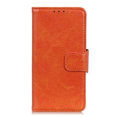 Custodia Portafoglio In Pelle Cover con Supporto L03 per Oppo A15 Arancione