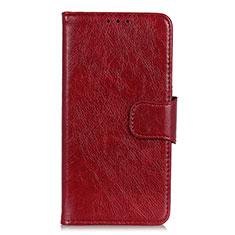 Custodia Portafoglio In Pelle Cover con Supporto L03 per Oppo A15 Rosso
