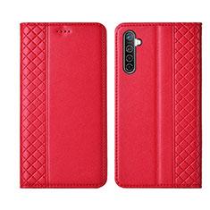 Custodia Portafoglio In Pelle Cover con Supporto L03 per Realme X2 Rosso