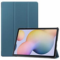 Custodia Portafoglio In Pelle Cover con Supporto L03 per Samsung Galaxy Tab S7 Plus 12.4 Wi-Fi SM-T970 Ciano