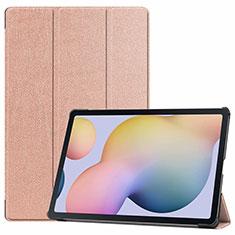Custodia Portafoglio In Pelle Cover con Supporto L03 per Samsung Galaxy Tab S7 Plus 5G 12.4 SM-T976 Oro Rosa