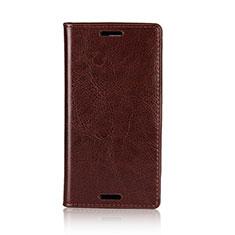 Custodia Portafoglio In Pelle Cover con Supporto L03 per Sony Xperia XZ1 Compact Marrone