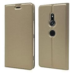 Custodia Portafoglio In Pelle Cover con Supporto L03 per Sony Xperia XZ2 Oro