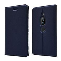 Custodia Portafoglio In Pelle Cover con Supporto L03 per Sony Xperia XZ2 Premium Blu