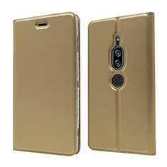 Custodia Portafoglio In Pelle Cover con Supporto L03 per Sony Xperia XZ2 Premium Oro
