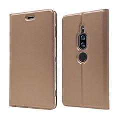 Custodia Portafoglio In Pelle Cover con Supporto L03 per Sony Xperia XZ2 Premium Oro Rosa