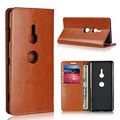 Custodia Portafoglio In Pelle Cover con Supporto L03 per Sony Xperia XZ3 Arancione