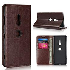Custodia Portafoglio In Pelle Cover con Supporto L03 per Sony Xperia XZ3 Marrone