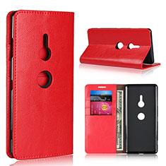 Custodia Portafoglio In Pelle Cover con Supporto L03 per Sony Xperia XZ3 Rosso