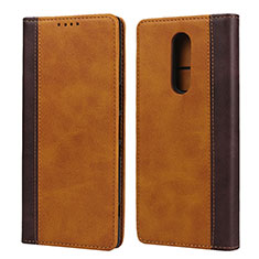 Custodia Portafoglio In Pelle Cover con Supporto L03 per Sony Xperia XZ4 Arancione
