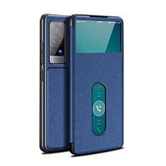 Custodia Portafoglio In Pelle Cover con Supporto L03 per Vivo X60 Pro 5G Blu