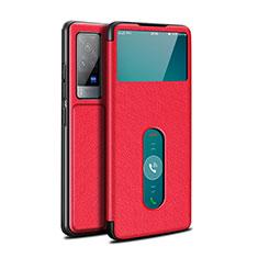Custodia Portafoglio In Pelle Cover con Supporto L03 per Vivo X60 Pro 5G Rosso