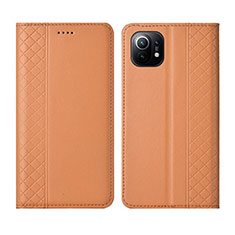 Custodia Portafoglio In Pelle Cover con Supporto L03 per Xiaomi Mi 11 5G Arancione