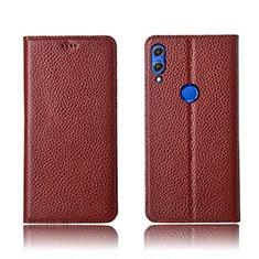 Custodia Portafoglio In Pelle Cover con Supporto L04 per Huawei Honor 8X Marrone