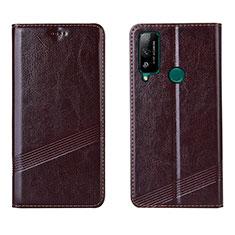 Custodia Portafoglio In Pelle Cover con Supporto L04 per Huawei Honor Play4T Marrone