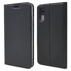 Custodia Portafoglio In Pelle Cover con Supporto L04 per Huawei P20 Nero