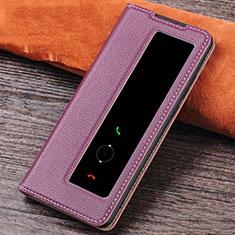 Custodia Portafoglio In Pelle Cover con Supporto L04 per Huawei P30 Viola
