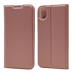 Custodia Portafoglio In Pelle Cover con Supporto L04 per Huawei Y5 (2019) Oro Rosa