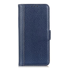 Custodia Portafoglio In Pelle Cover con Supporto L04 per Huawei Y5p Blu