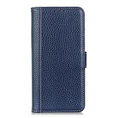 Custodia Portafoglio In Pelle Cover con Supporto L04 per Huawei Y6p Blu