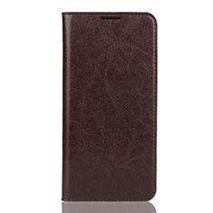 Custodia Portafoglio In Pelle Cover con Supporto L04 per Huawei Y7 (2019) Marrone