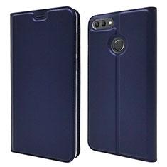 Custodia Portafoglio In Pelle Cover con Supporto L04 per Huawei Y9 (2018) Blu