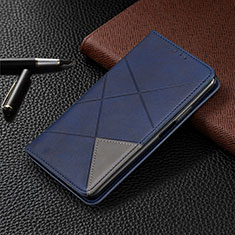 Custodia Portafoglio In Pelle Cover con Supporto L04 per Samsung Galaxy M21 Blu