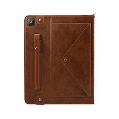 Custodia Portafoglio In Pelle Cover con Supporto L04 per Samsung Galaxy Tab S6 Lite 4G 10.4 SM-P615 Marrone