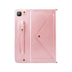 Custodia Portafoglio In Pelle Cover con Supporto L04 per Samsung Galaxy Tab S6 Lite 4G 10.4 SM-P615 Oro Rosa