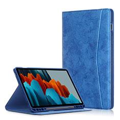 Custodia Portafoglio In Pelle Cover con Supporto L04 per Samsung Galaxy Tab S7 Plus 12.4 Wi-Fi SM-T970 Blu