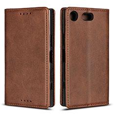 Custodia Portafoglio In Pelle Cover con Supporto L04 per Sony Xperia XZ1 Compact Marrone