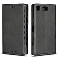 Custodia Portafoglio In Pelle Cover con Supporto L04 per Sony Xperia XZ1 Compact Nero