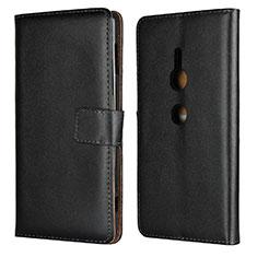Custodia Portafoglio In Pelle Cover con Supporto L04 per Sony Xperia XZ2 Nero
