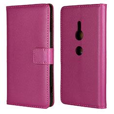 Custodia Portafoglio In Pelle Cover con Supporto L04 per Sony Xperia XZ2 Rosa Caldo
